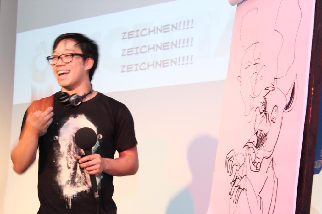 Concept Artist gibt Vortrag während des PLAY Festivals für kreatives Computerspielen