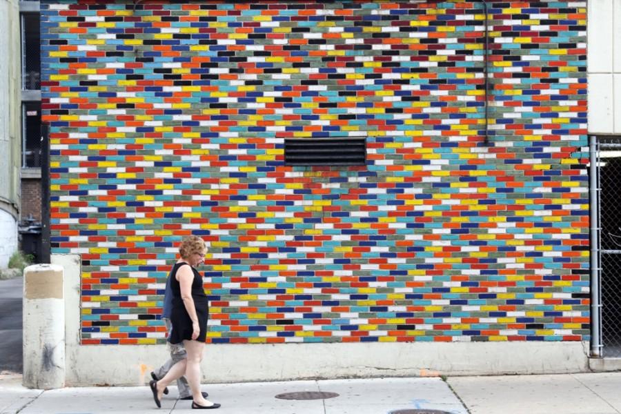 Bunte Mauer in Chicago